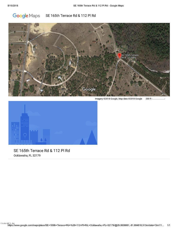 0 Se 165Th Terrace Road, Ocklawaha, Fl 32179 (Mls #542269 - Ocklawaha Florida Map