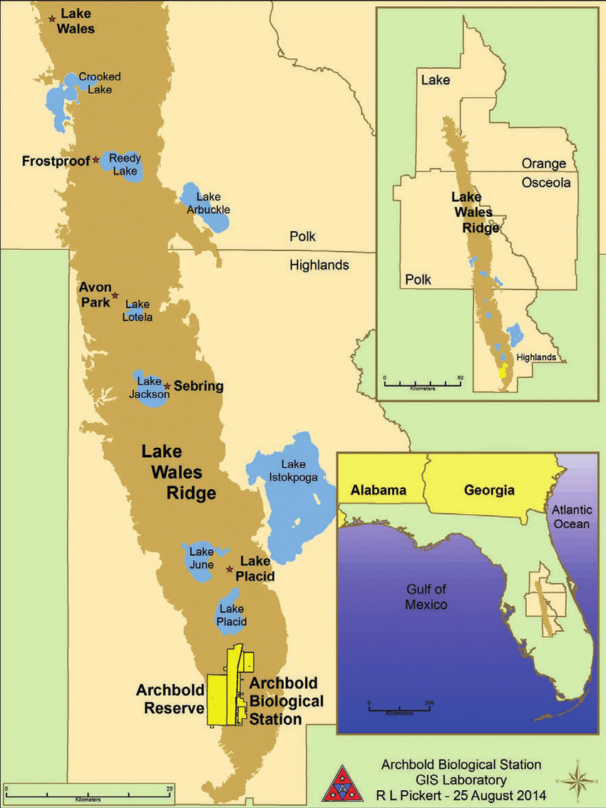 1. Location Of The Lake Wales Ridge In Florida. Source: Map Used - Lake Wells Florida Map