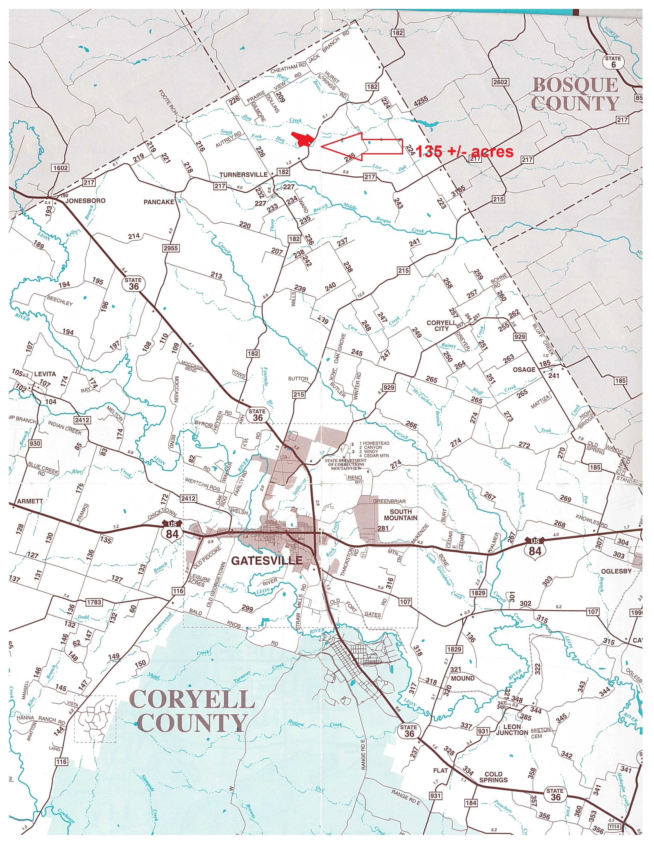 134 Acres In Coryell County, Texas - Coryell County Texas Map