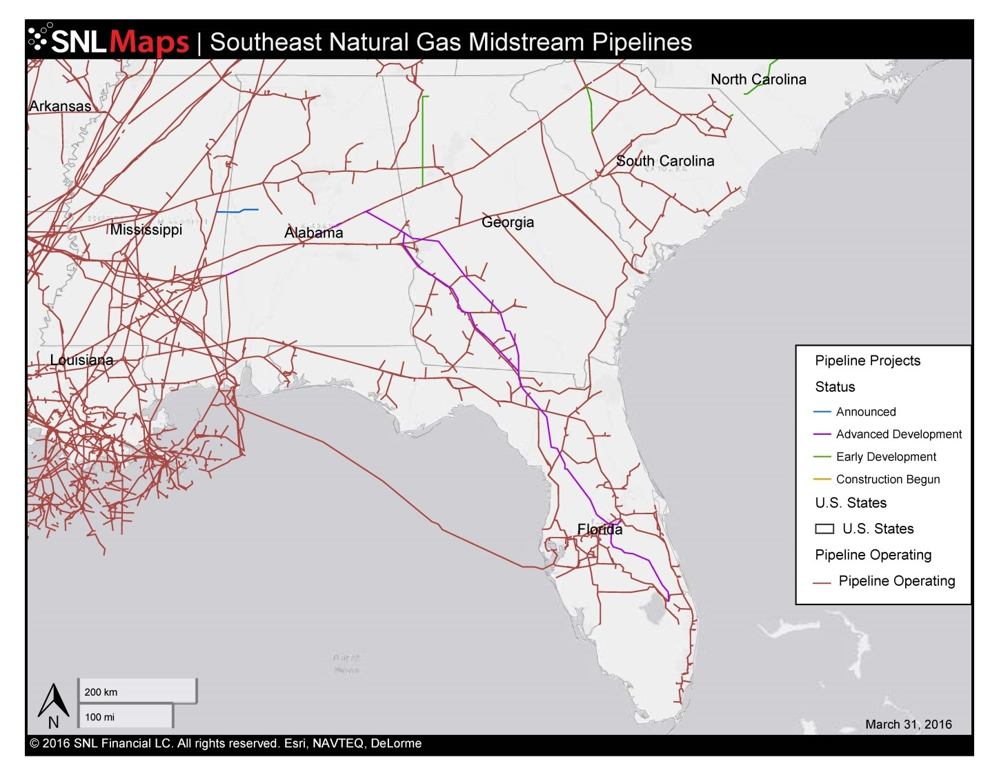 1448×1123 Map Of Southeast Mid-Stream Natural Gas Pipelines, In - Florida Natural Gas Pipeline Map
