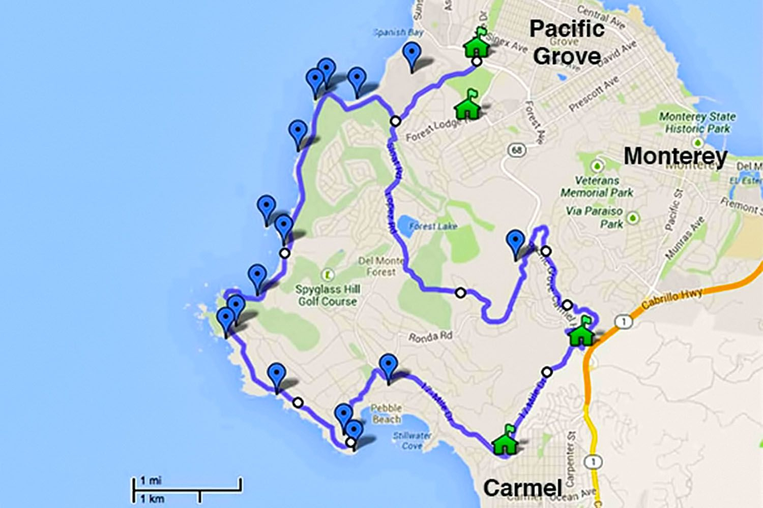 17-Mile Drive - Must-Do Stops And Proven Tips - Monterey Beach California Map