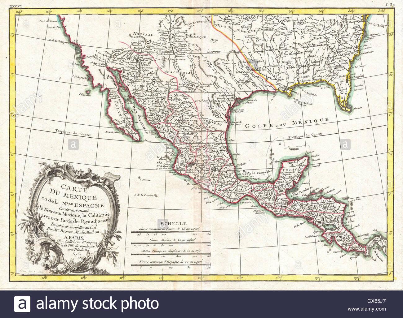 1771 Bonne Map Of Mexico (Texas), Louisiana And Florida Stock Photo - Texas Louisiana Border Map