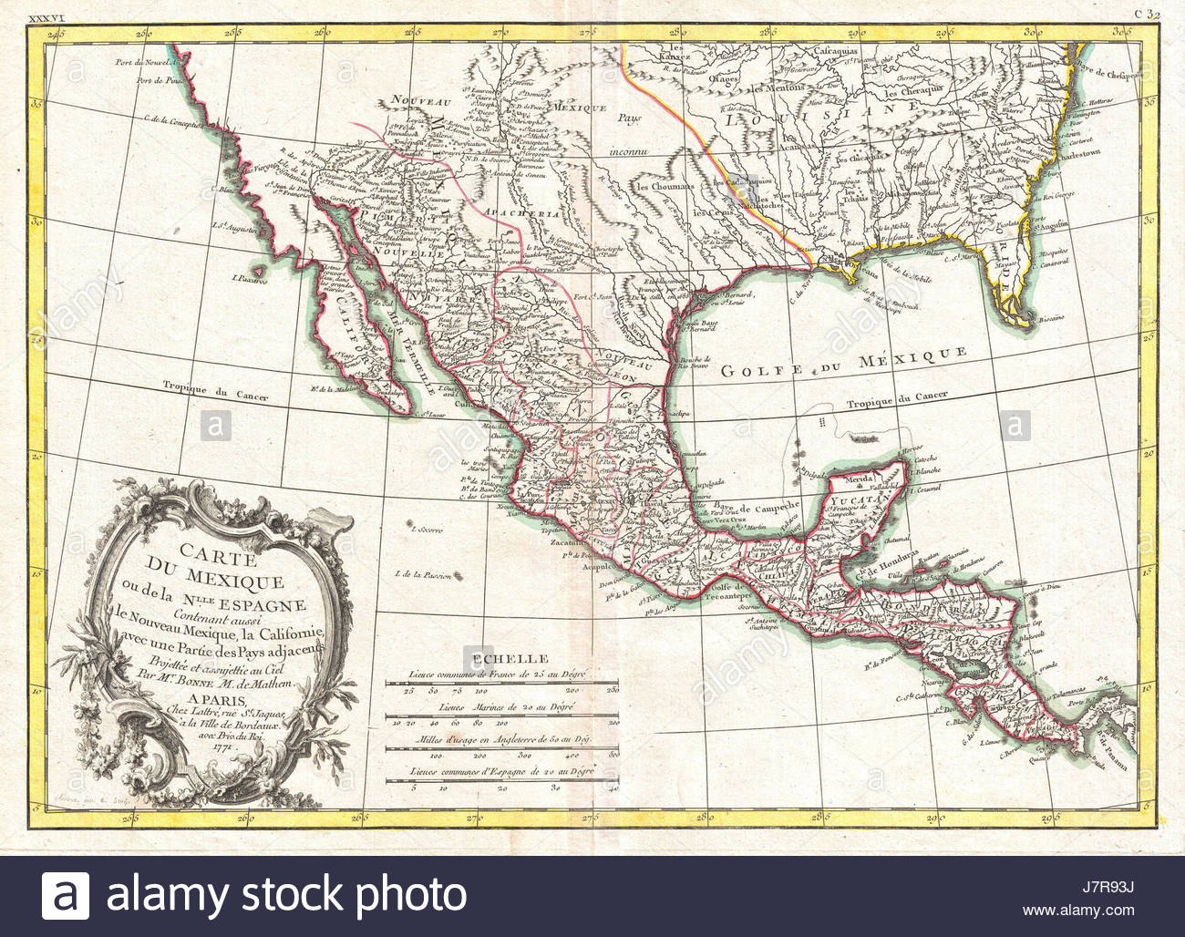 1771 Bonne Map Of Mexico (Texas), Louisiana And Florida Stock Photo - Texas Louisiana Map