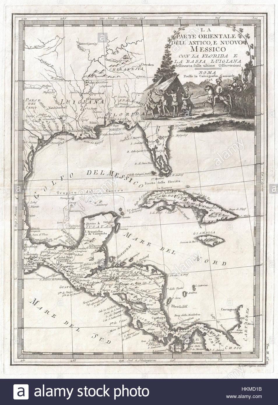 1798 Cassini Map Of Florida, Louisiana, Cuba, And Central America - Florida Louisiana Map