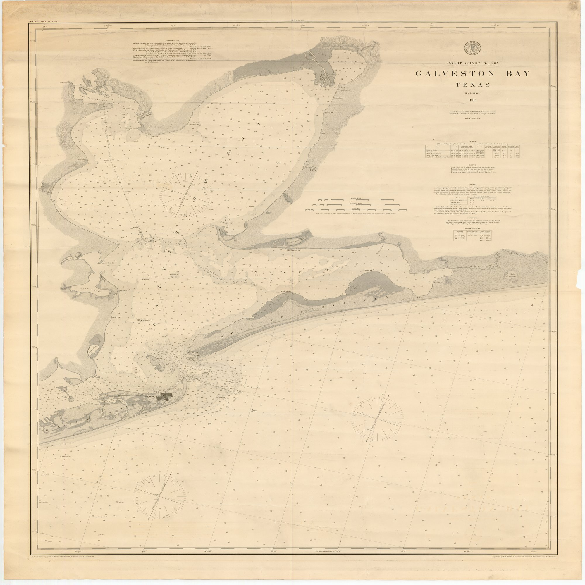 18 X 24 Inch 1885 Texas Old Nautical Map Drawing Chart Of Galveston - Texas Beaches Map