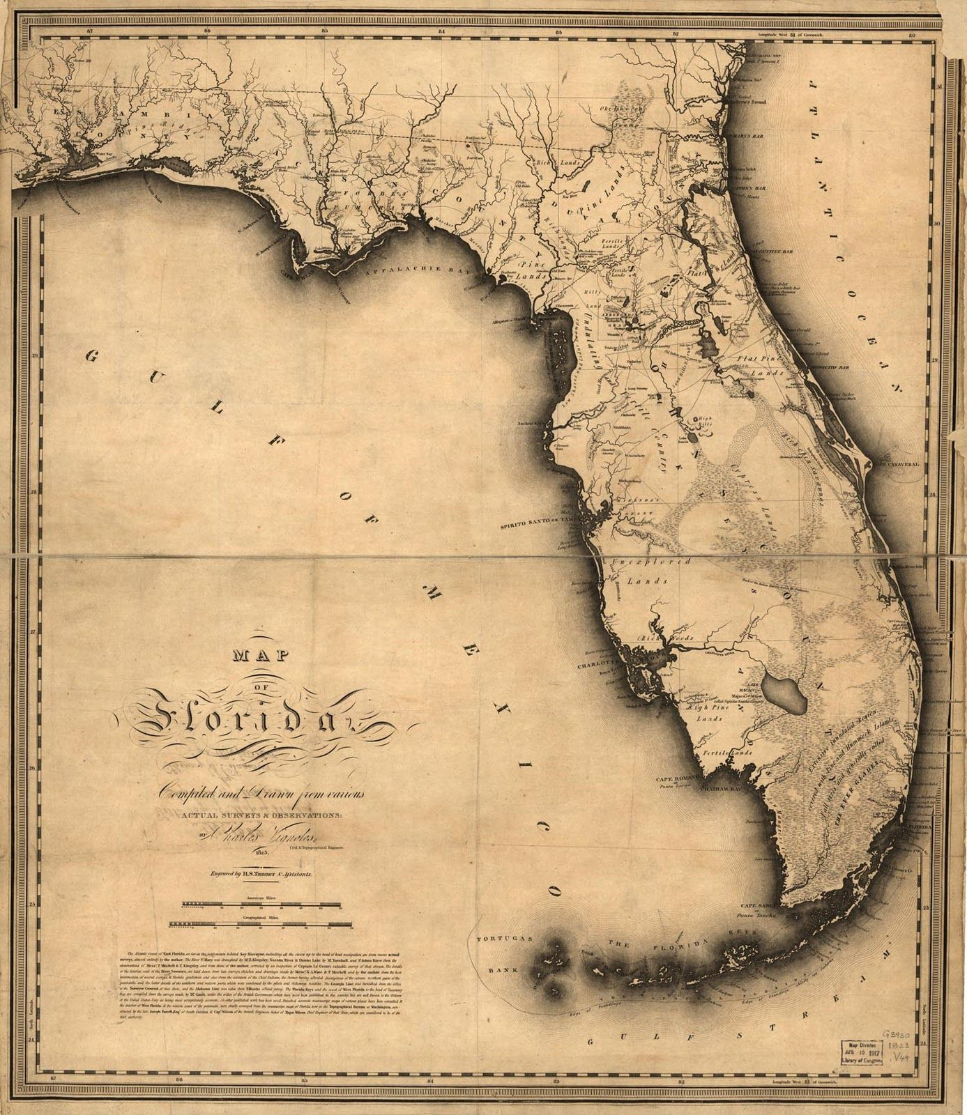 1823, Florida State Map, Florida, United States | Floride - Old Florida Map