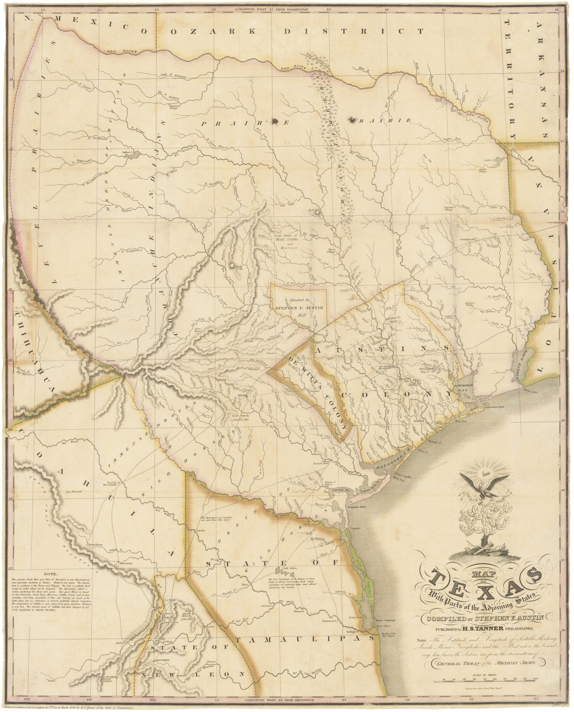 "1830 First Edition Of The Austin Map Of Texas: ""The Map Of Texas I - Antique Texas Map"
