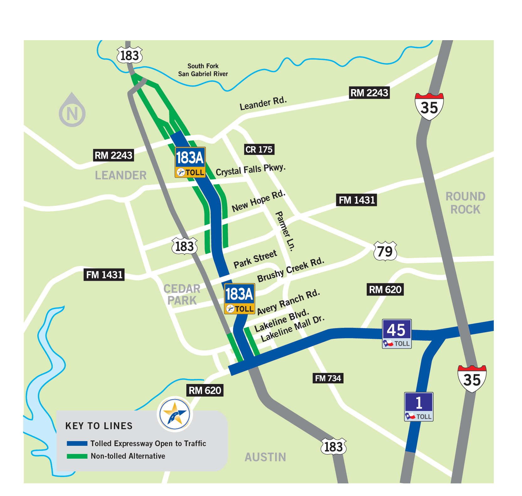183A Toll | Central Texas Regional Mobility Authority - Cedar Park Texas Map