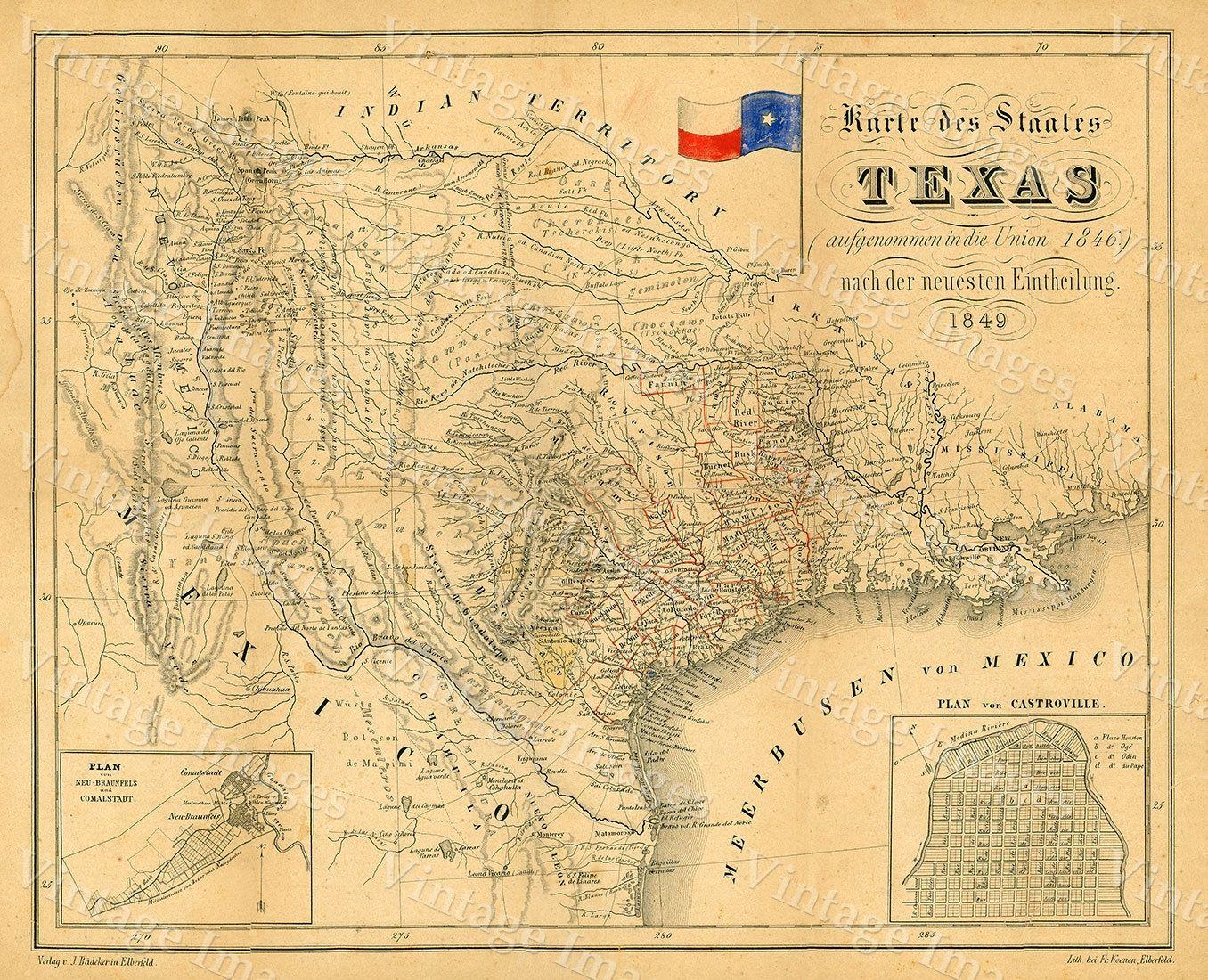 1849 Map Of Texas Old Texas Map, Texas, Map Of Texas, Vintage Map - Texas Map Wall Art