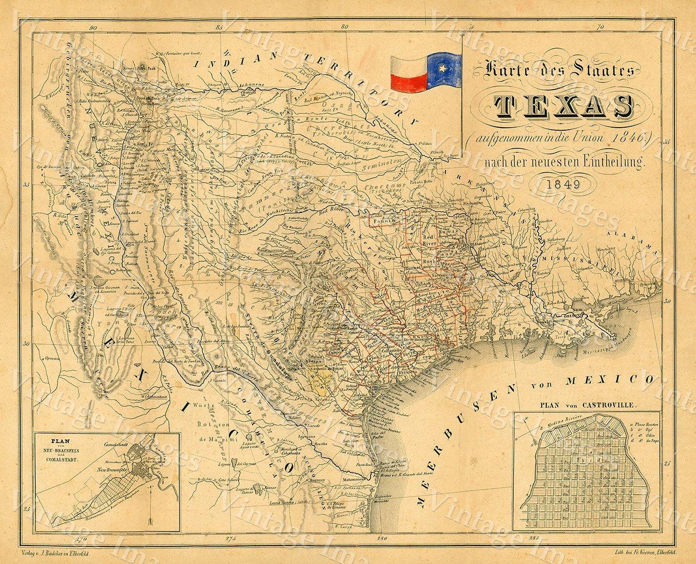 1849 Map Of Texas Old Texas Map, Texas, Map Of Texas, Vintage - Vintage Texas Map Prints