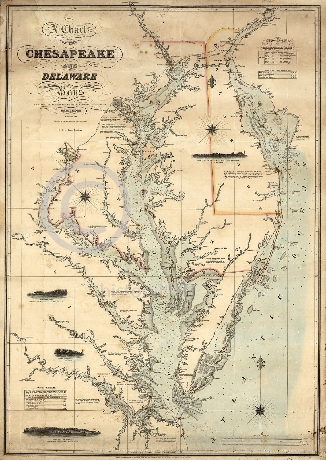1862 Nautical Chart Map Chesapeake Delaware Bay Vintage Historical - Printable Map Of Chesapeake Bay