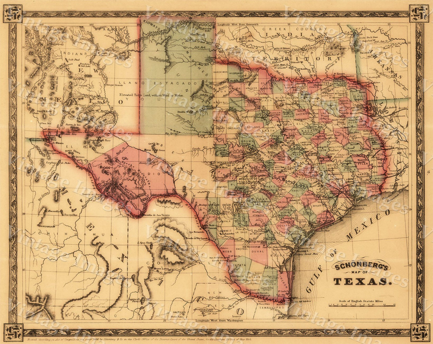 1866 Texas Map Old West Map Antique Texas Map Restoration - Old Texas Maps Prints