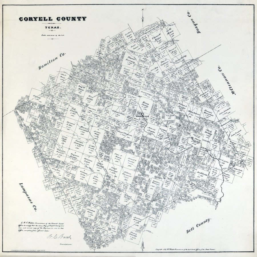 1879 Farm Line Map Of Coryell County Texas | Etsy - Coryell County Texas Map