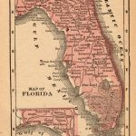 1888 Antique Florida State Map Vintage Map Of Florida Gallery Wall   Florida Map Wall Art