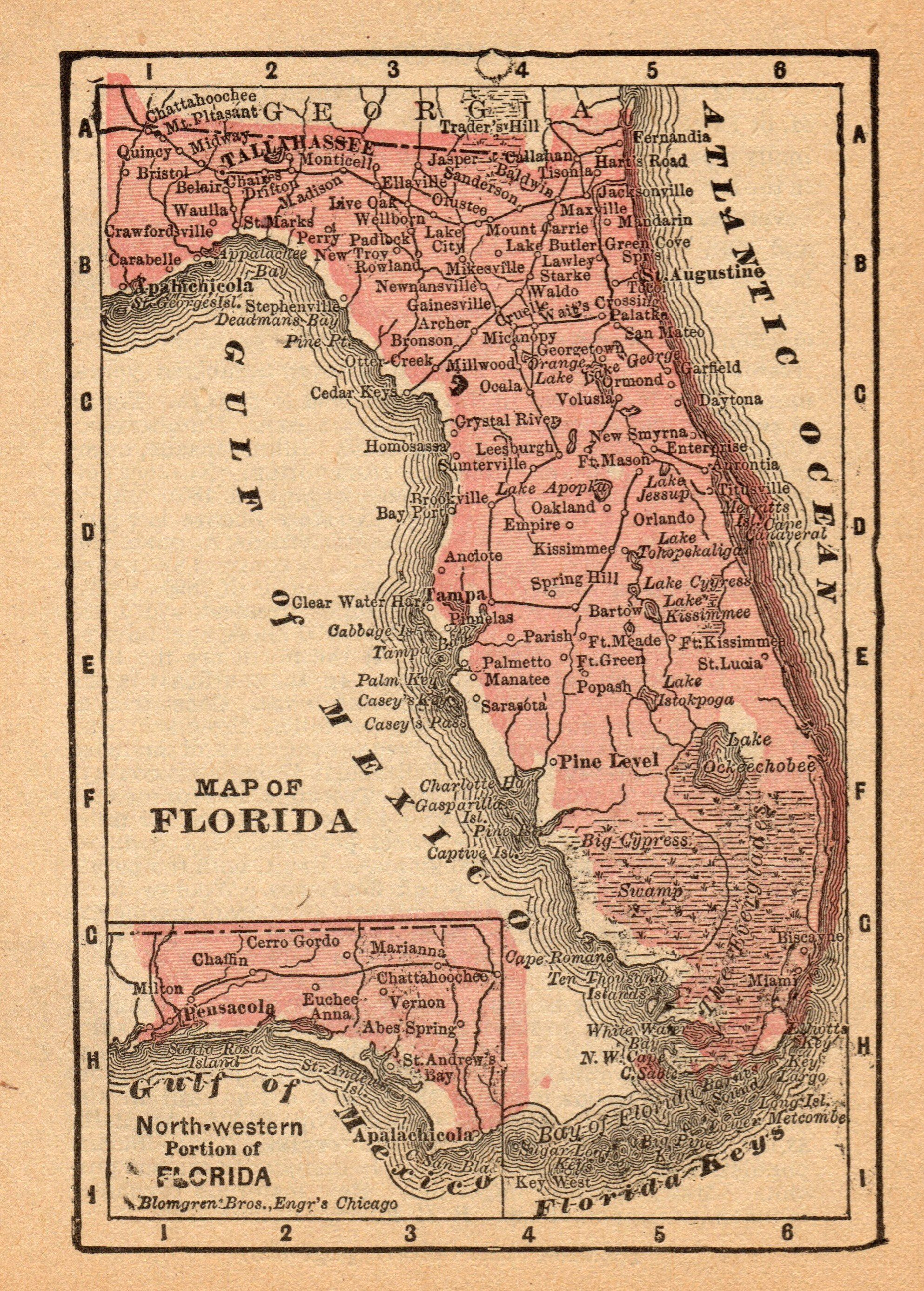 1888 Antique Florida State Map Vintage Map Of Florida Gallery Wall - Florida Map Wall Art