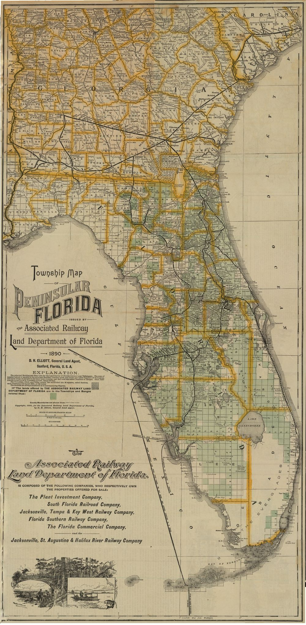 1890 - Florida Memory - Township Map Of Florida, 1890 | Georgetown - Florida Maps For Sale