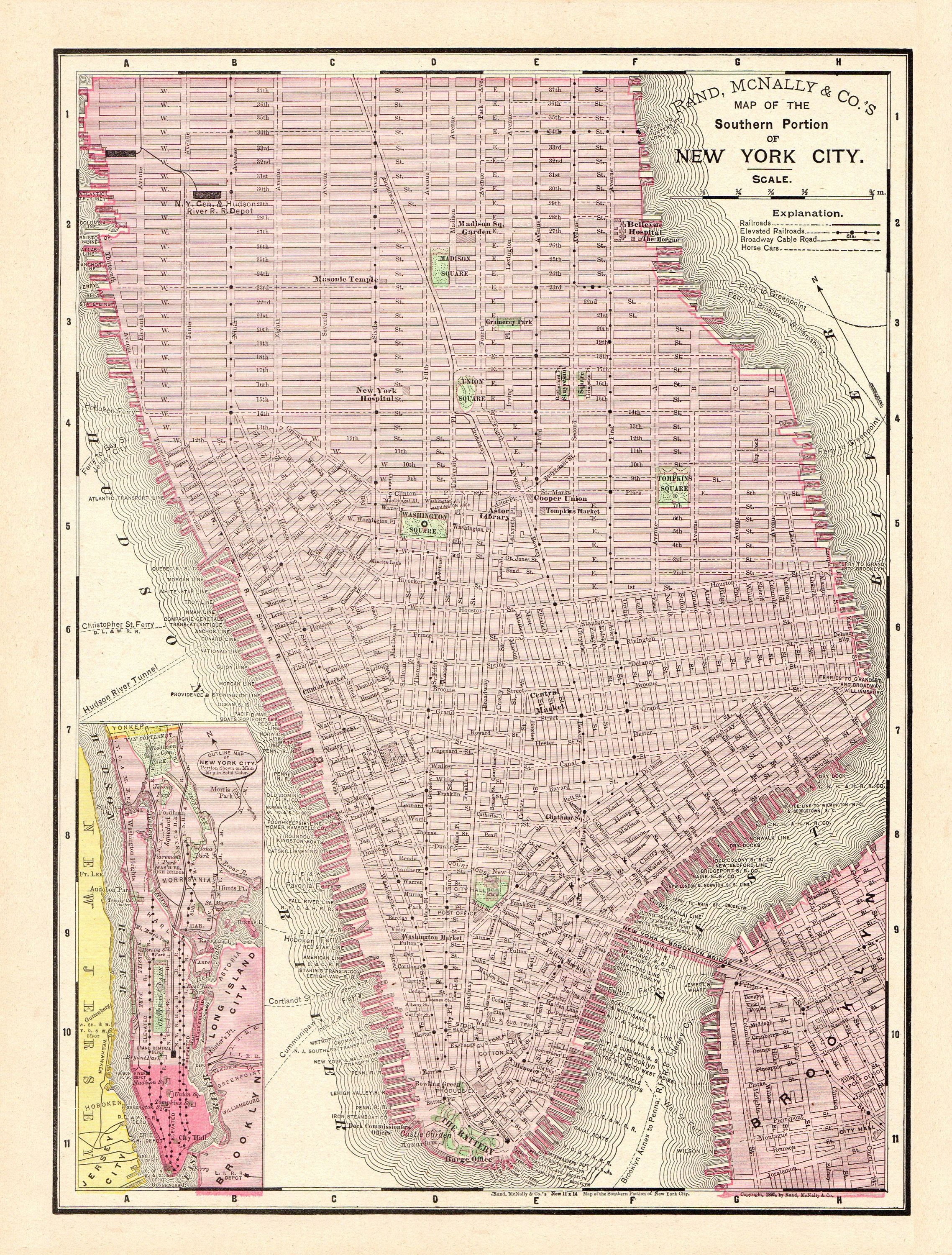 1895 Antique New York City Map Reproduction Print Map Of Manhattan - Antique Texas Map Reproductions