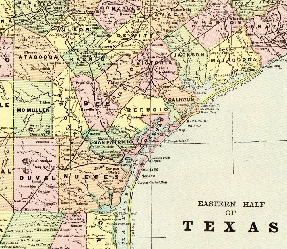 1900 Antique Texas Map Vintage Original State Map Of Eastern Texas - Vintage Texas Map