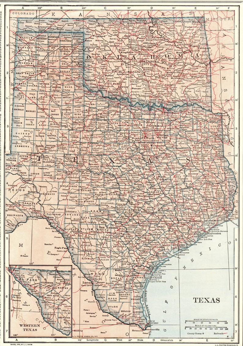 1914 Antique Texas Map Oklahoma Map State Map Of Oklahoma   Etsy - Antique Texas Map