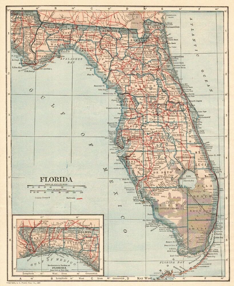 1921 Antique Florida Map Vintage State Map Of Florida Gallery Wall - Antique Florida Map