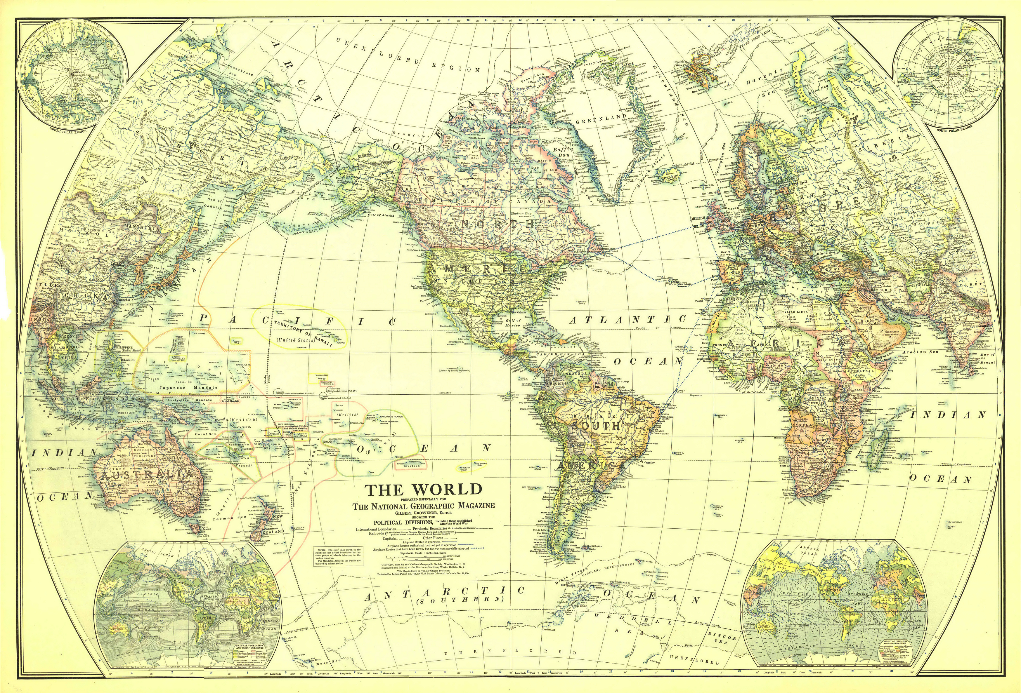 1922 World Mapthe National Geographic Society [3 495 X 2 374 - National Geographic World Map Printable