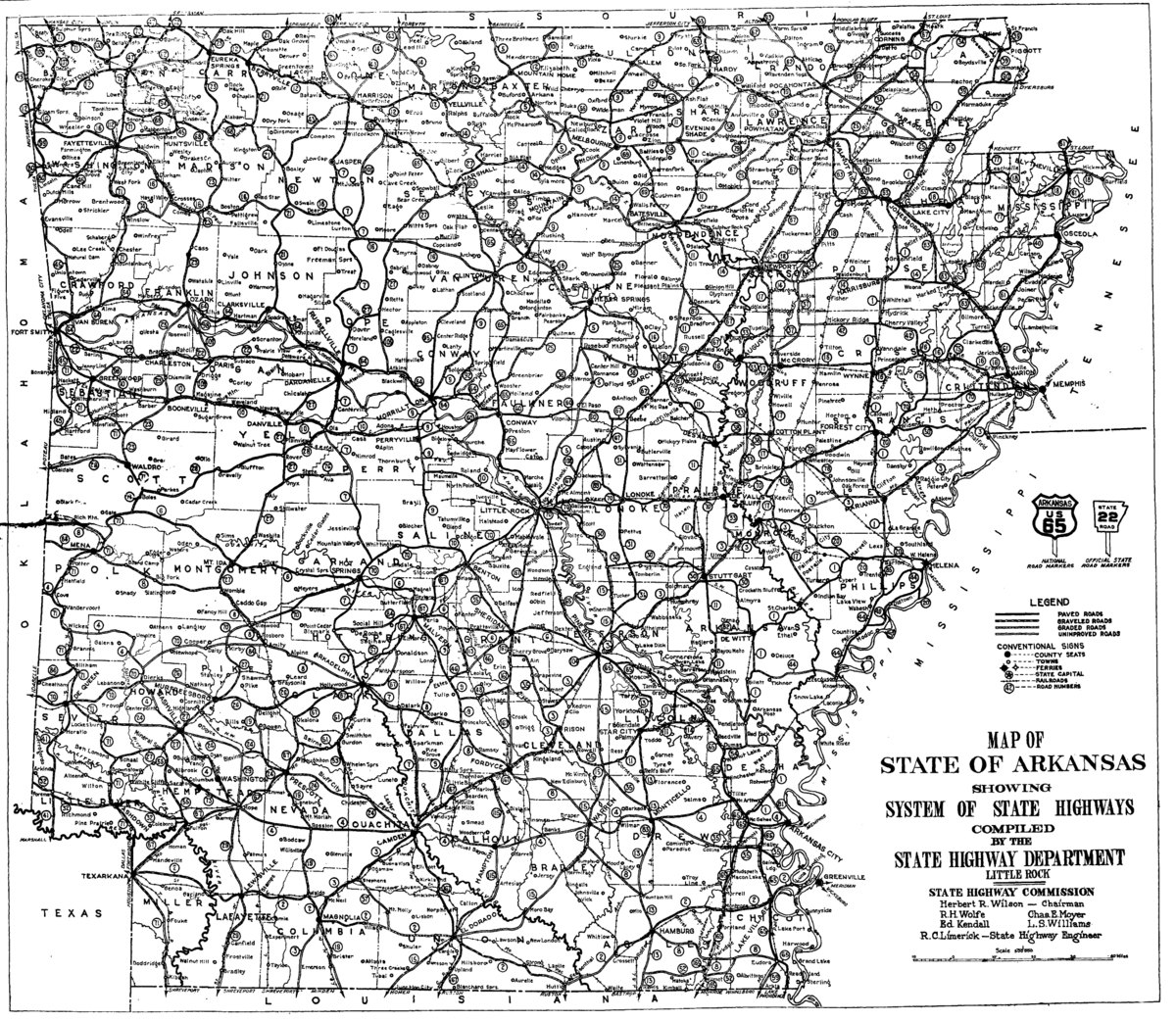 1926 Arkansas State Highway Numbering - Wikipedia - Arkansas Road Map Printable