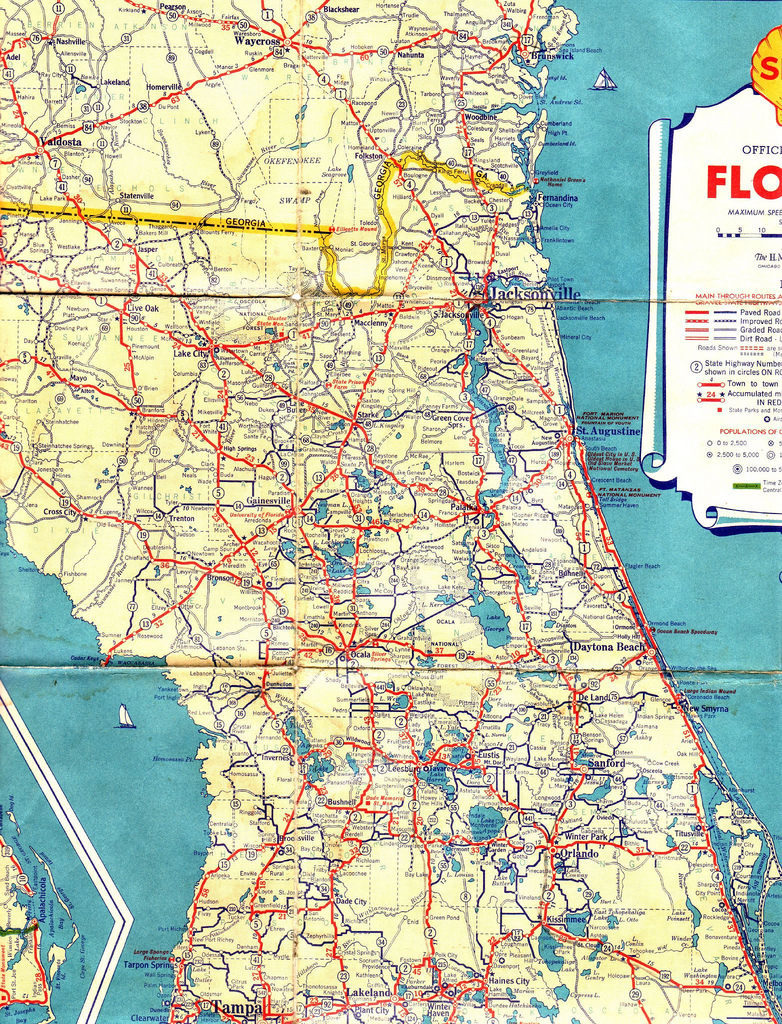 1934 Shell Road Map | Central And Northern Florida | Jasperdo | Flickr - Road Map Of Central Florida