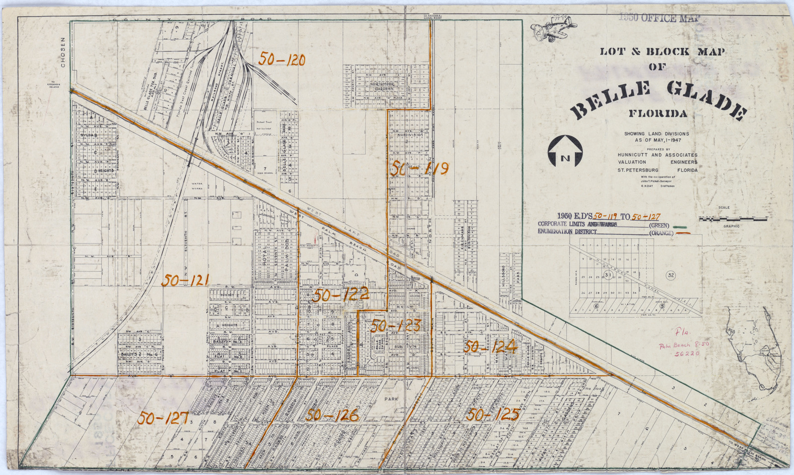 1950 Census Enumeration District Maps - Florida (Fl) - Palm Beach - Belle Glade Florida Map