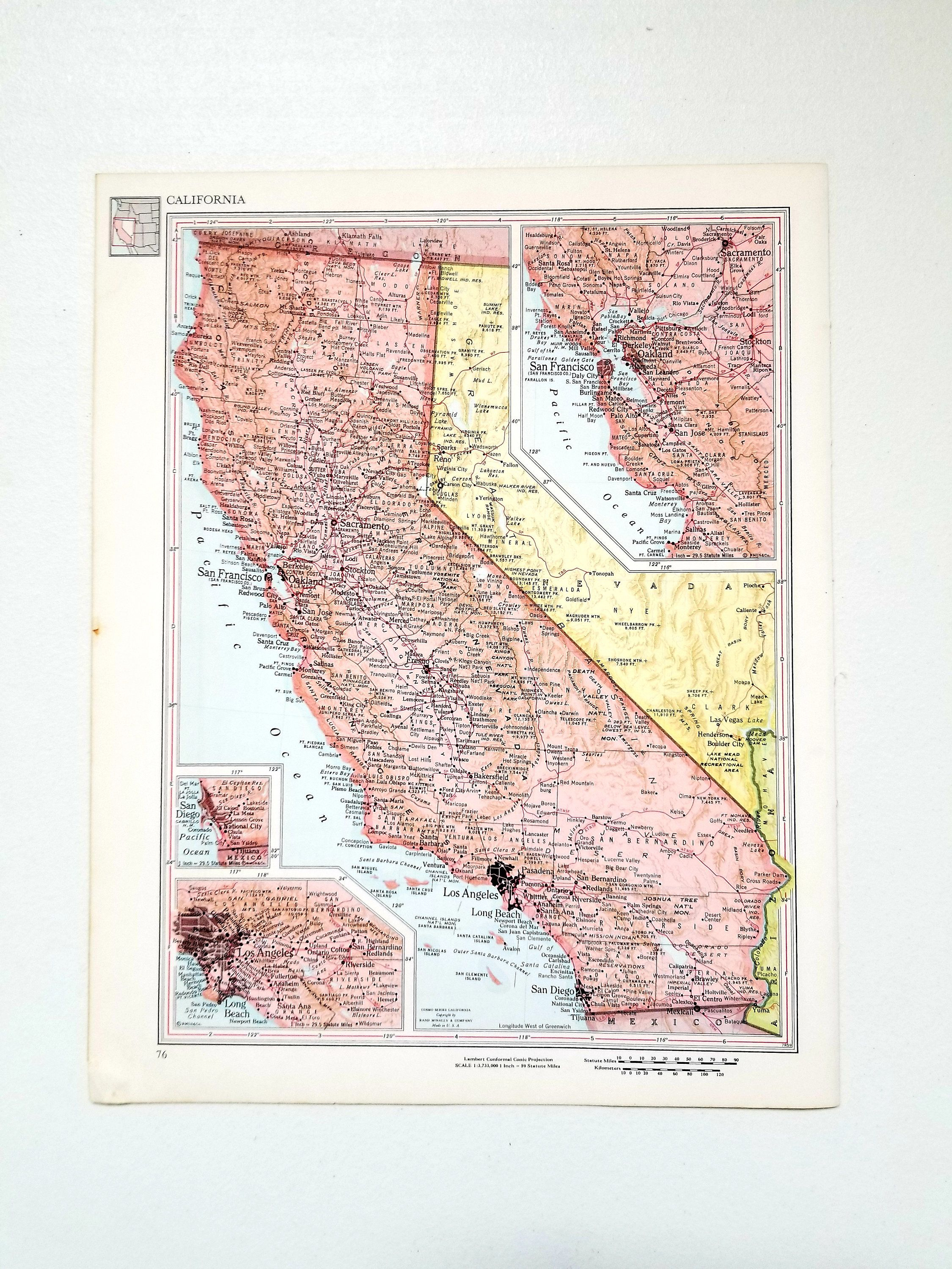 1960 California Map / Vintage Map Wall Art / Office Decor - California Map Wall Art
