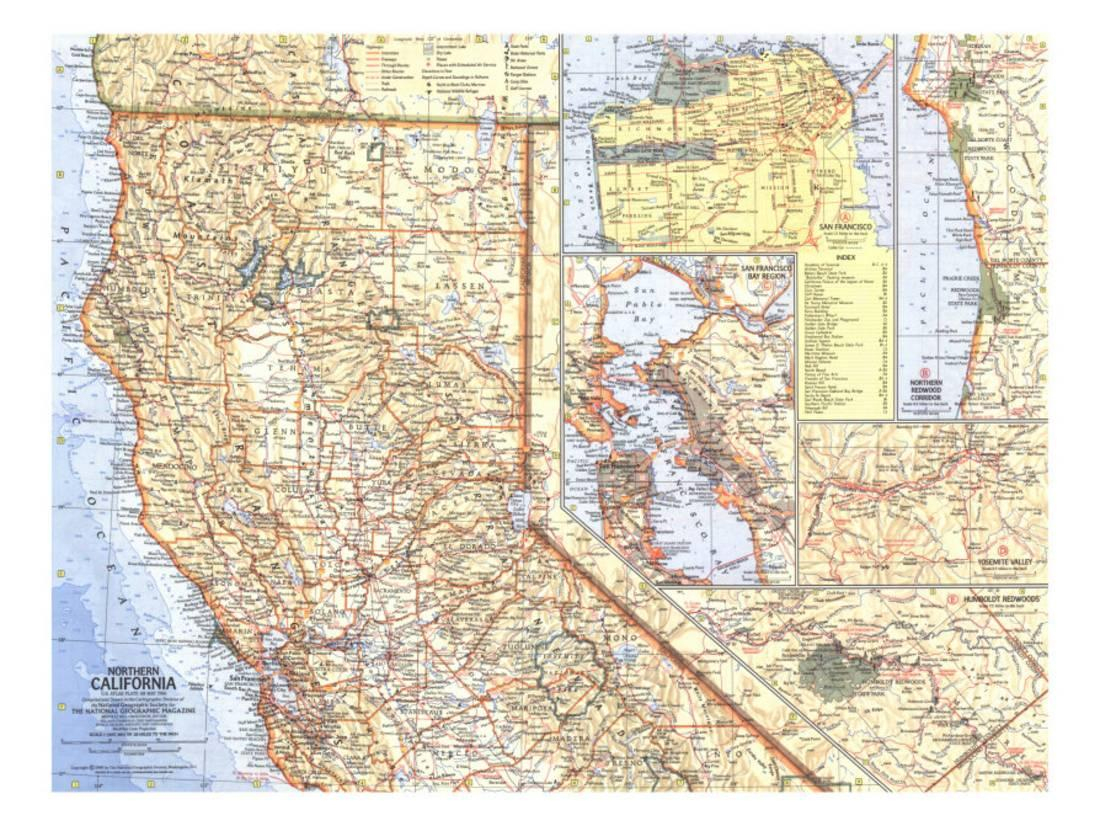 1966 Northern California Map Print Wall Artnational Geographic - Northern California Wall Map