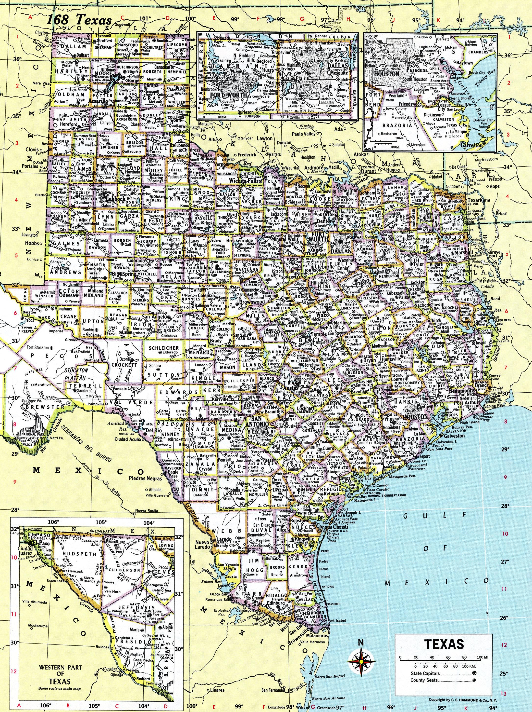 1980 Texas Map Antique Hammond Atlas Map Vintage Texas   Etsy - Texas Atlas Map