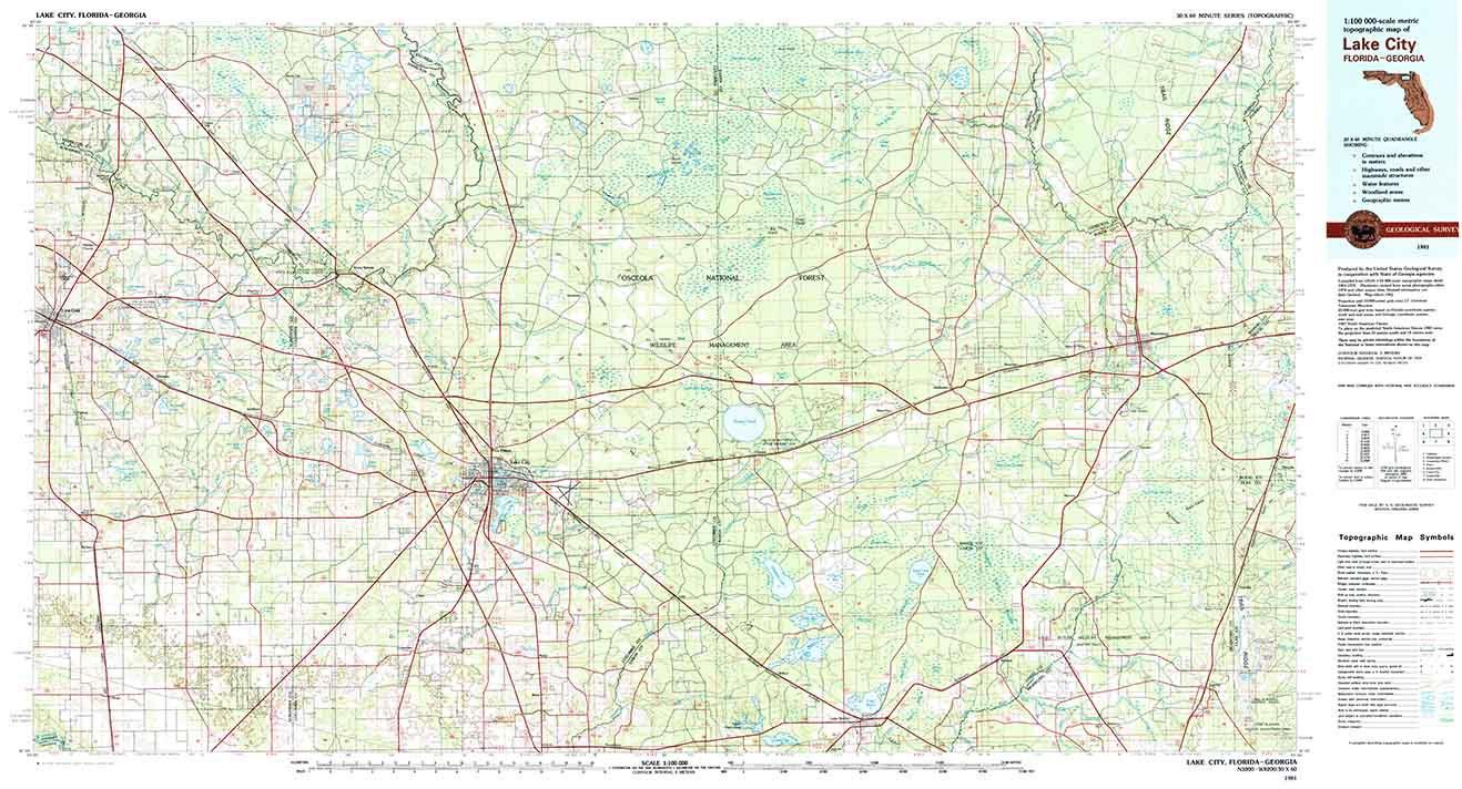 1981 Topo Map Of Lake City Florida Quadrangle Osceola National   Etsy - Map Of Lake City Florida And Surrounding Area