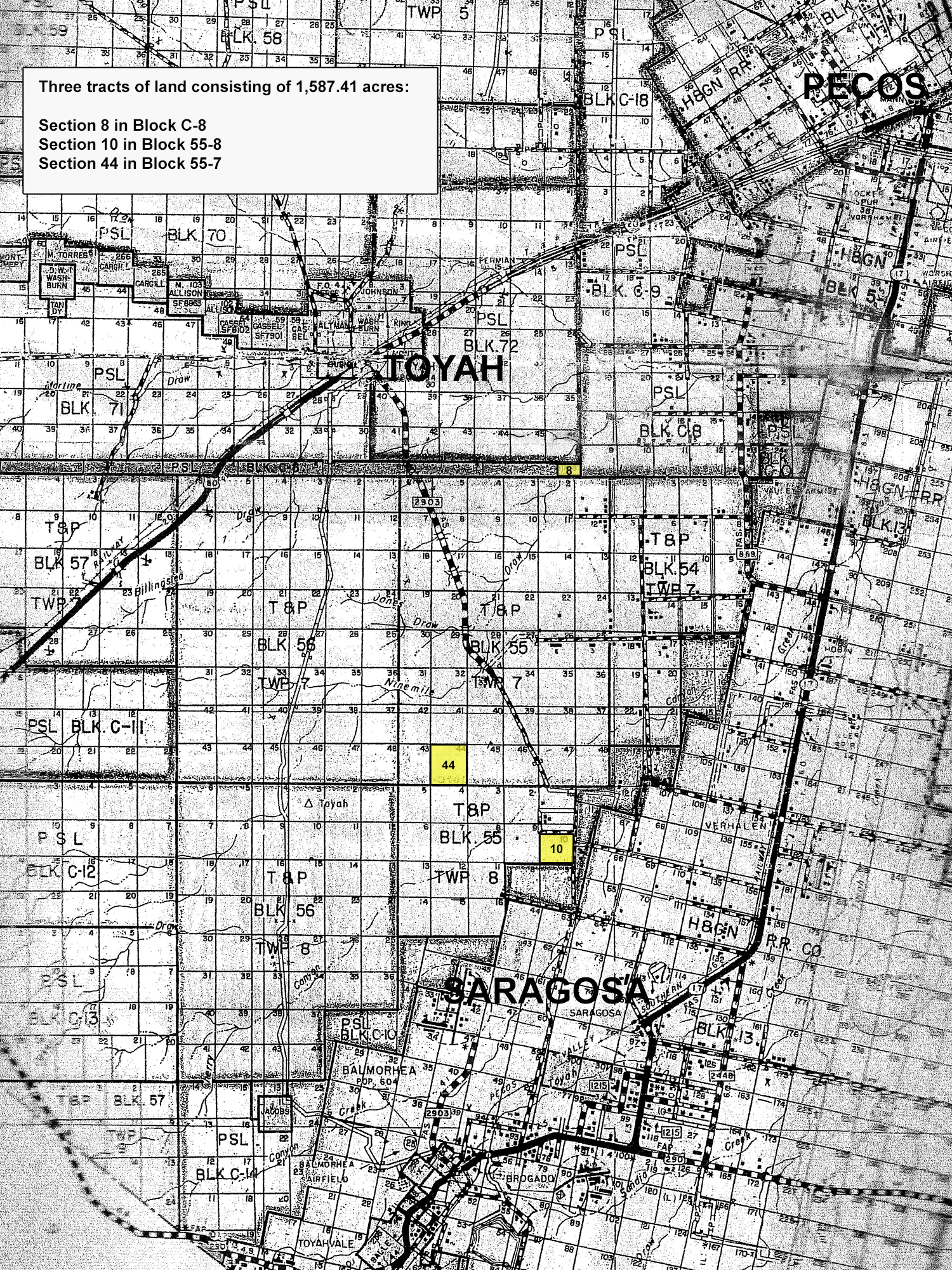 2% Undivided Interest In 3 Tracts | University Of Texas System - Reeves County Texas Plat Maps