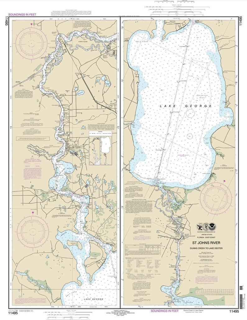 2013 Map Of St Johns River & Lake George Florida | Etsy - Lake George Florida Map