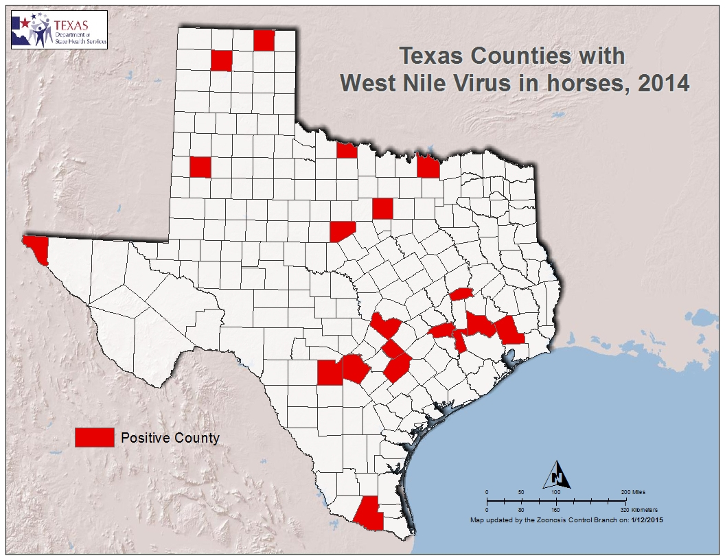 2014 Texas West Nile Virus Maps - Texas Zika Map