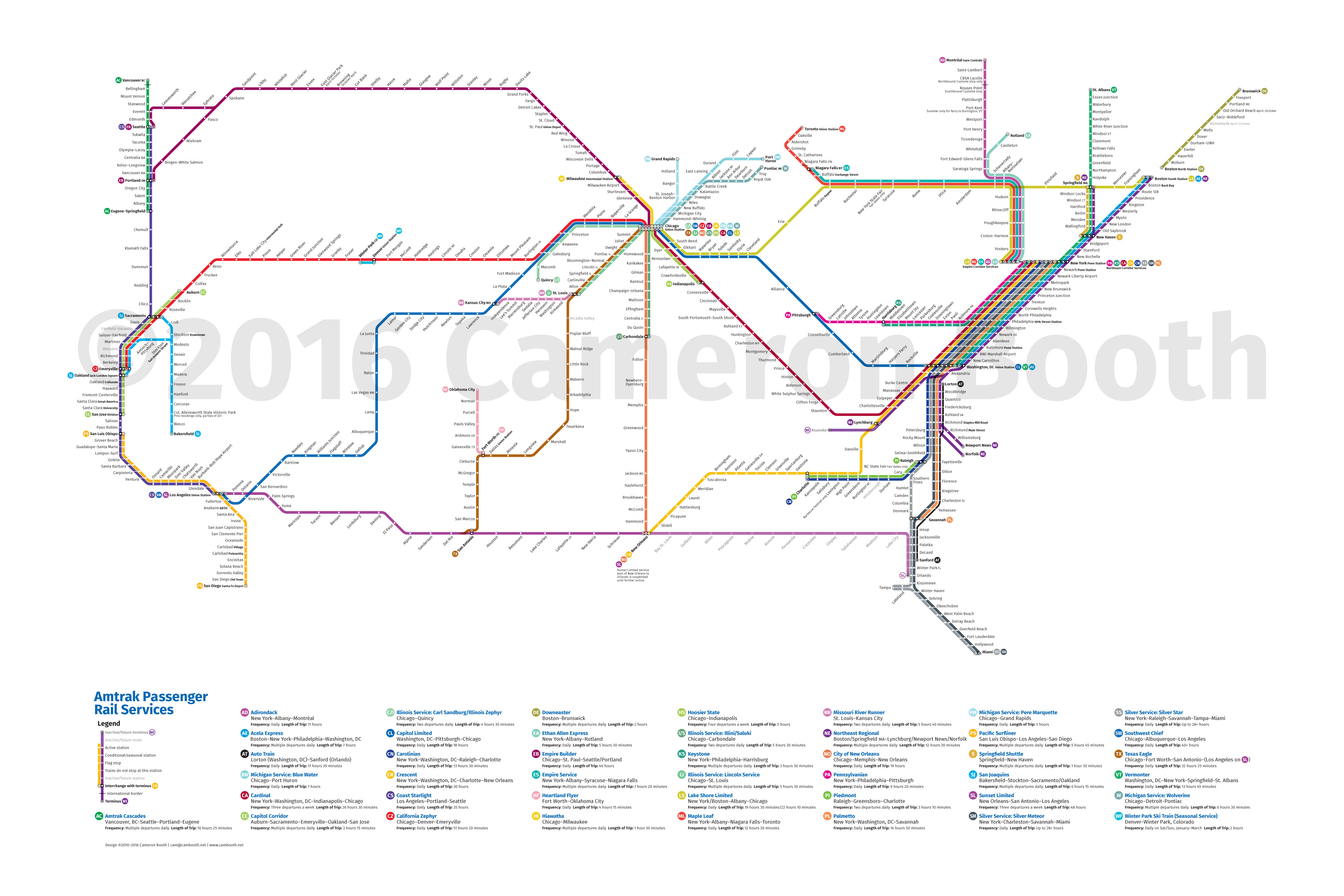 2016 Amtrak Subway Map – Large – Cameron Booth - Amtrak Texas Eagle Route Map