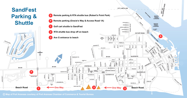2017 Shuttle Map | Texas Sandfest - Map Of Port Aransas Texas Area