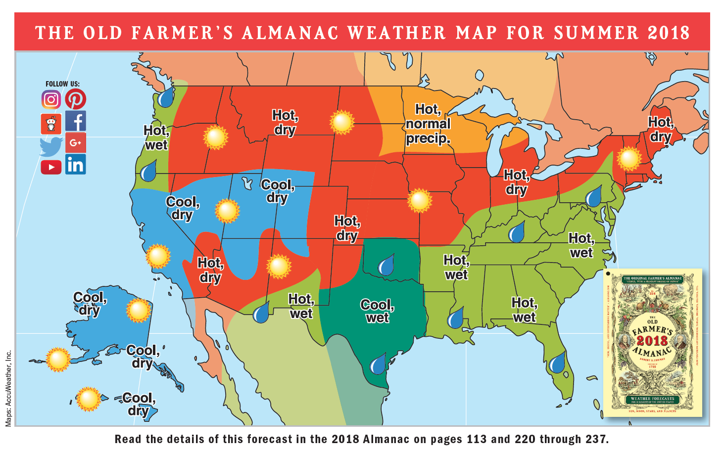 2018 Summer Weather Forecast | U.s. & Canada | The Old Farmer's Almanac - Florida State Weather Map
