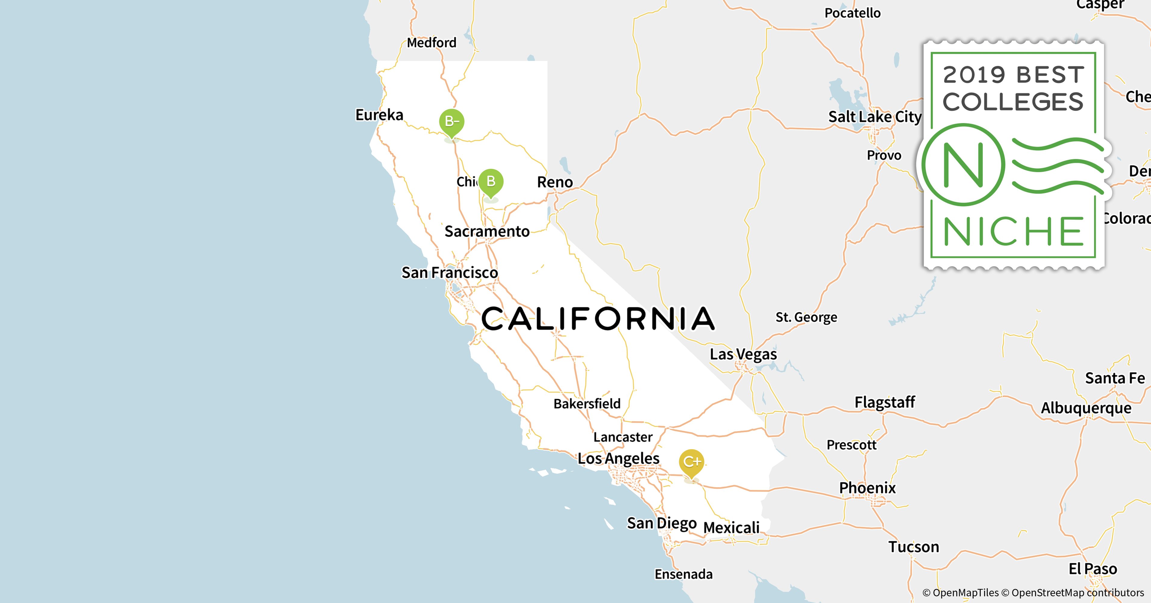 2019 Best Colleges In California - Niche - Colleges In California Map