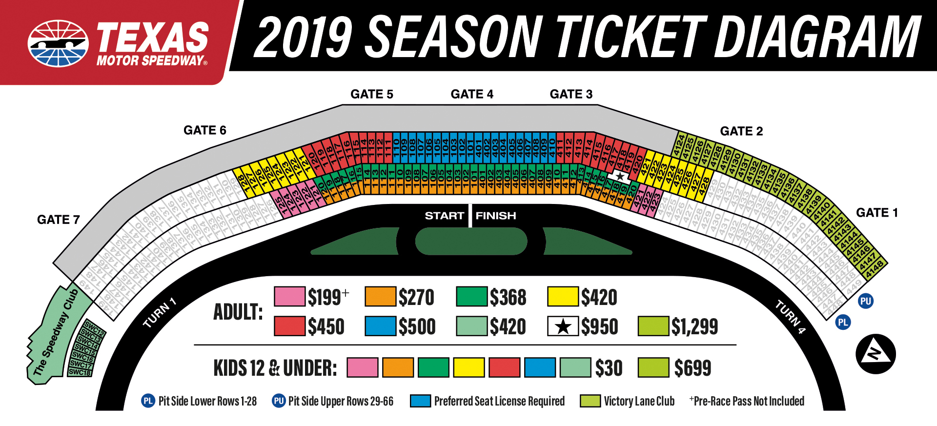2019 Season Tickets To Texas Motor Speedway - Texas Motor Speedway Parking Map