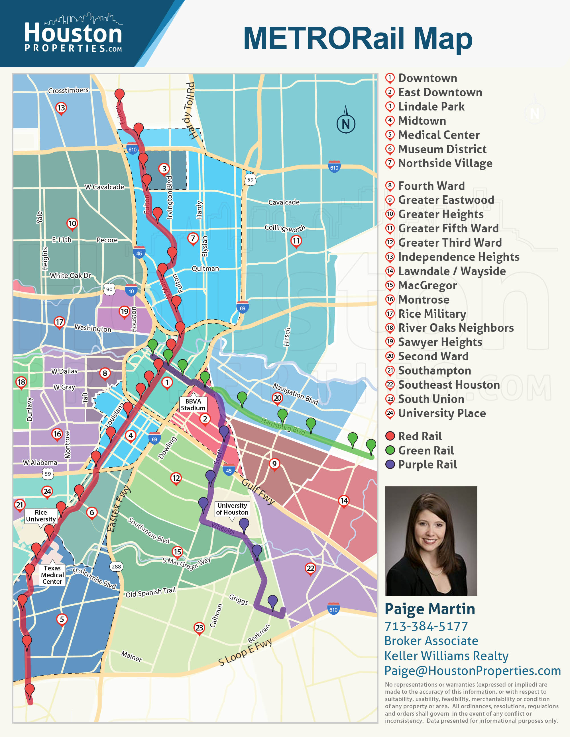 2019 Update: Houston Metro Rail Map - Neighborhoods Near Metrorail - Show Me Houston Texas On The Map