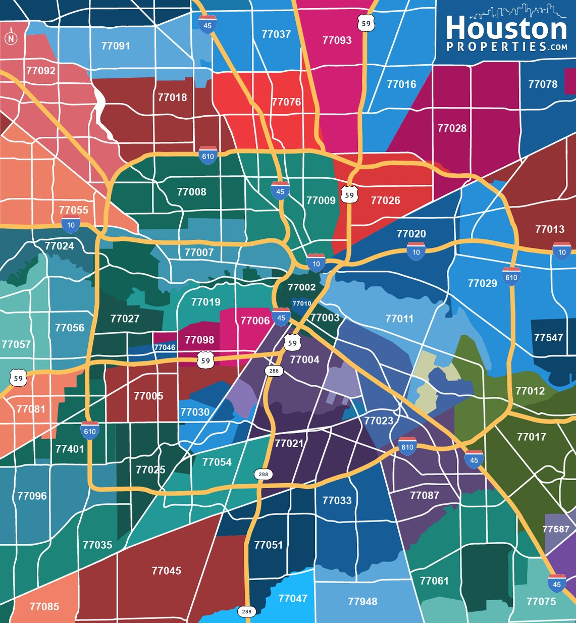 2019 Update: Houston Texas Zip Code Map | Houstonproperties - Show Me Houston Texas On The Map
