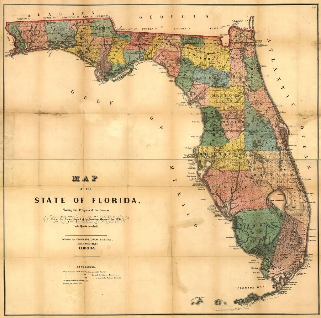 24X36 Vintage Reproduction Railroad Rail Train Historic Map Florida - Vintage Florida Map