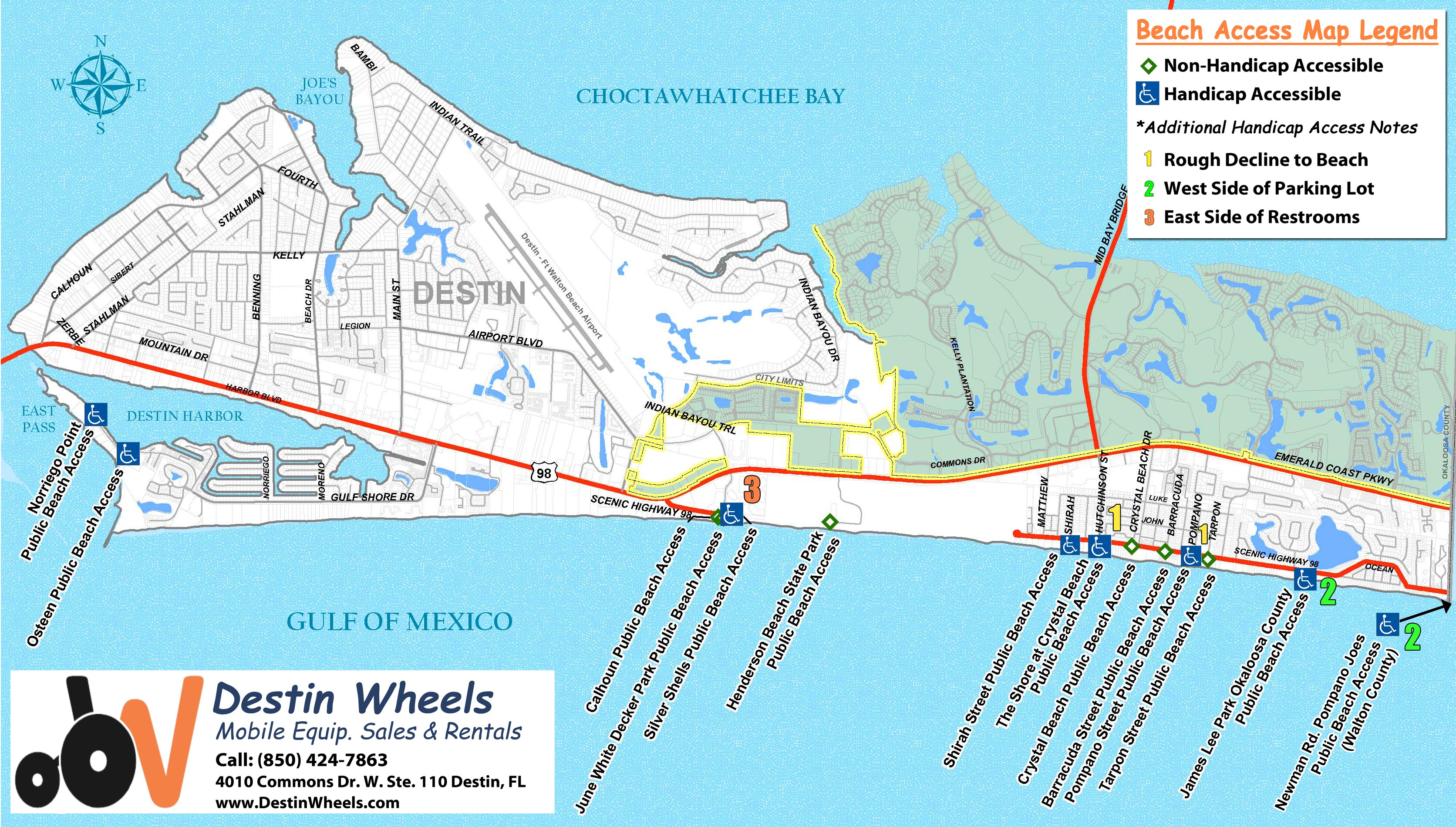 30A & Destin Beach Access - Destin Wheels Rentals In Destin, Fl - 30A Florida Map