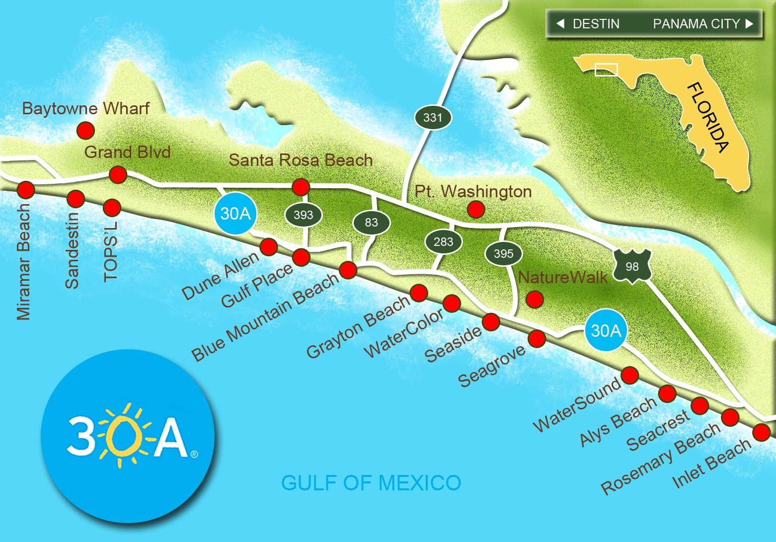 30A South Walton Interactive Map. Take A Virtual Tour Of The Beach - Where Is Destin Beach Florida On The Map