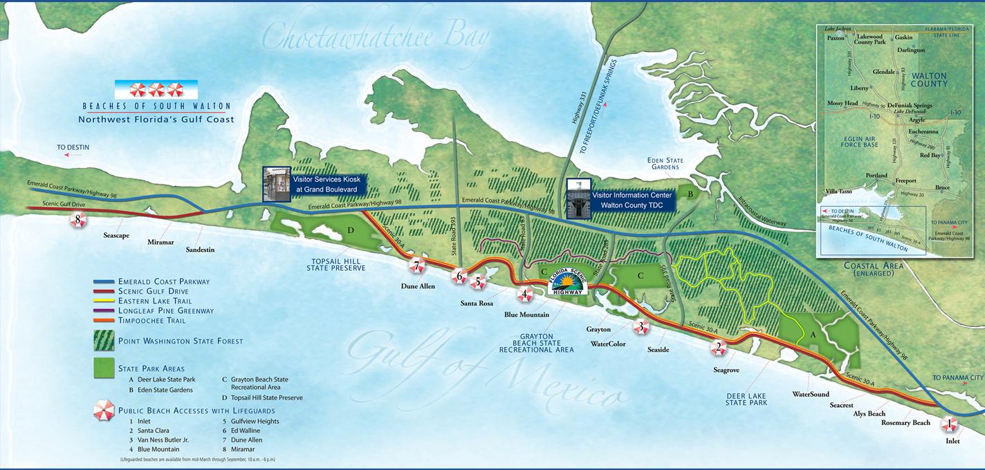 30A, South Walton, Panama City Beach Vacation Rentals & Guide - Northwest Florida Beaches Map