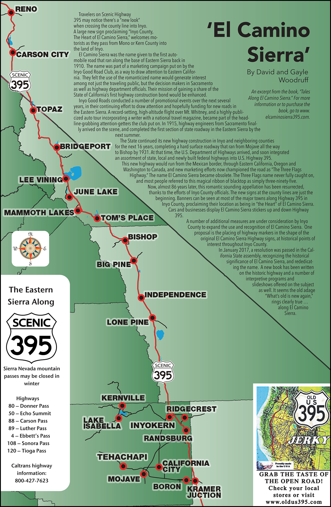 395 Map - Scenic 395 - Route 395 California Map