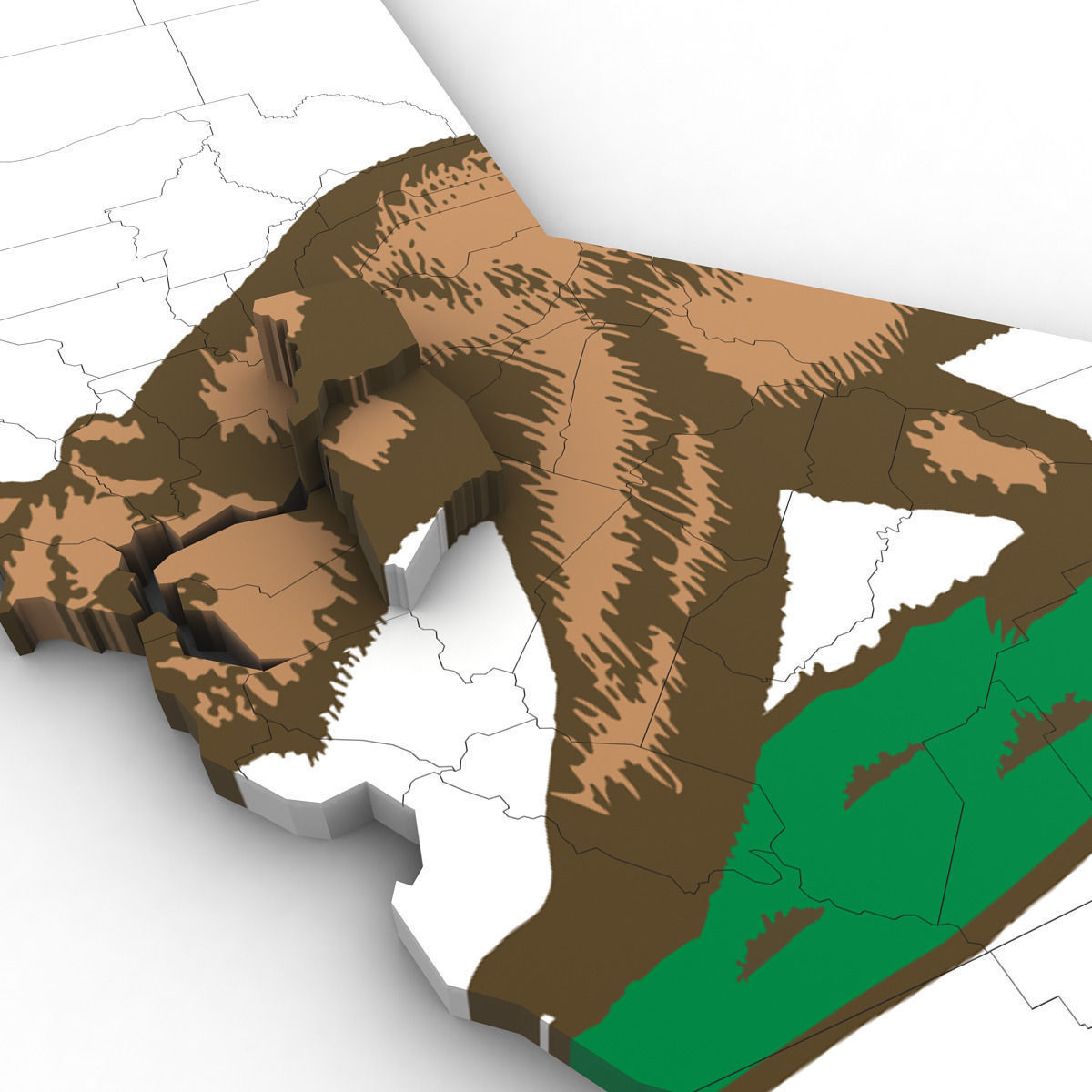 3D California Political Map | Cgtrader - 3D Map Of California