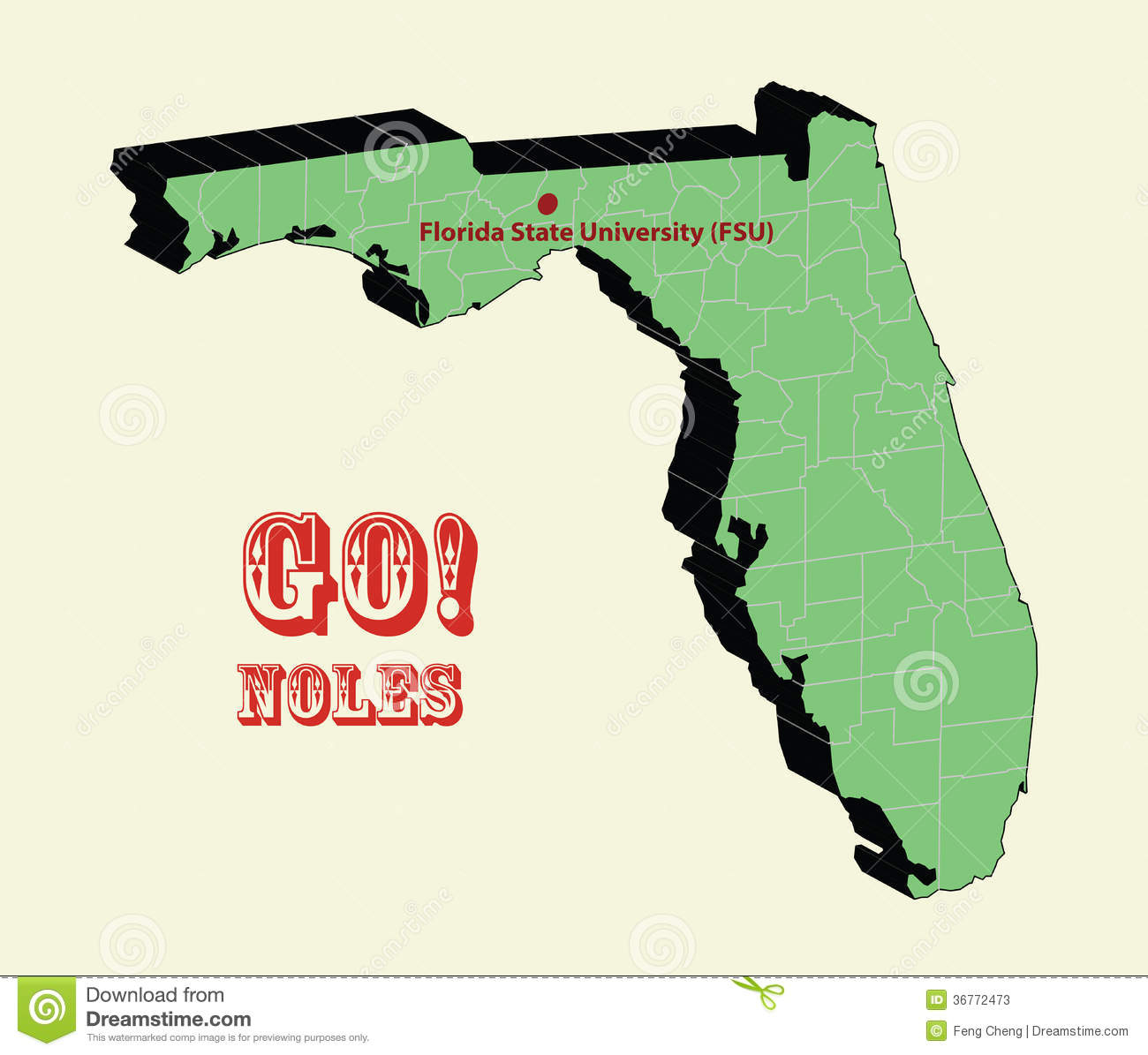3D Map Of Florida State University (Fsu), Go Noles Stock Vector - Florida State University Map