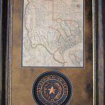 3D113 Republic Of Texas Seal W/ Republic Of Tx Map Western Art   Republic Of Texas Map Framed